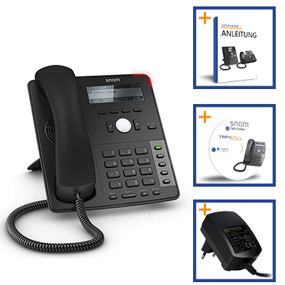 SNOM D710 Sorglos-Paket: IP- Telefon + TAPI-Treiber + Netzteil + Exklusiv Anleitung